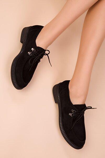 SOHO Siyah Süet Kadın Casual Ayakkabı 15532