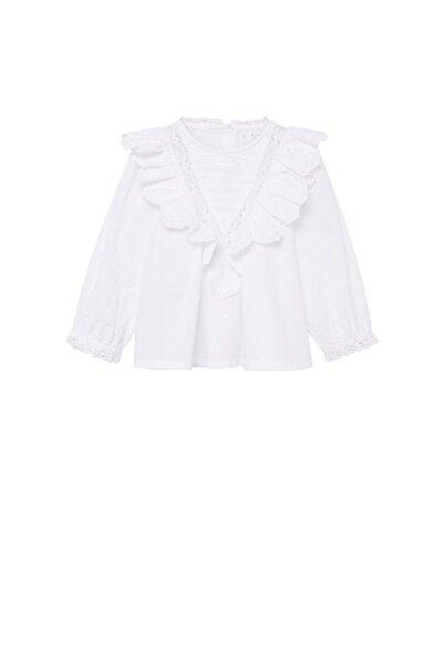 MANGO Baby Kız Bebek Beyaz Fırfırlı Koton Gömlek