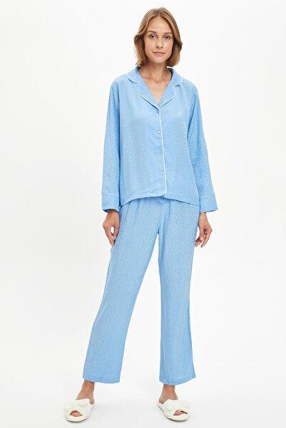 DeFacto Fit Kadın Blue Şerit Detayıylı Gömlek Tasarımlı Pijama Takımı S4800AZ20AU