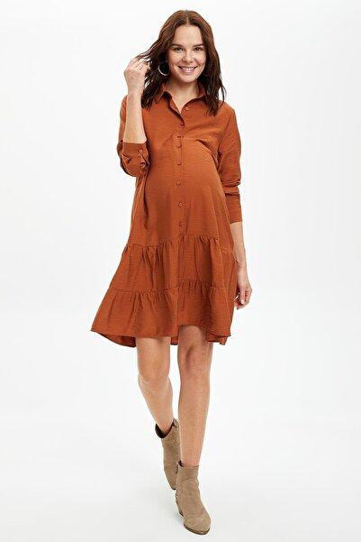 DeFacto Kadın Brown Volan Detaylı Katlamalı Kollu Hamile Elbisesi S2389AZ20AU
