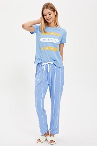 DeFacto Fit Kadın Blue Kısa Üstü Ve Uzun Alt Baskılı Pijama Takımı S4925AZ20AU