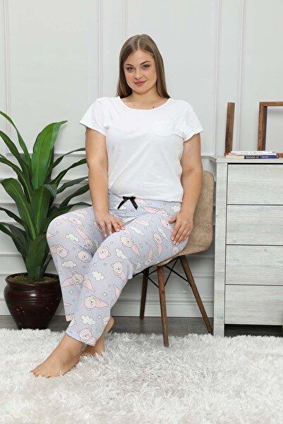 modalove Kadın Lila Desenli Mevsimlik Büyük Beden Tek Pijama Altı