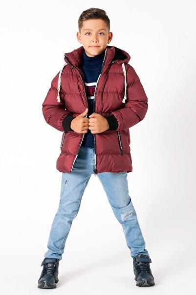 Le Ville Erkek Çocuk Bordo Astarlı Çıkarılabilir Kapüşonlu Dik Yaka Şişme Mont