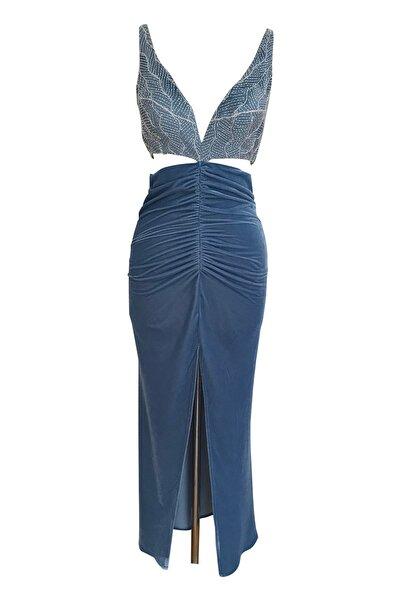 Barrus Kadın İndigo İşlemeli Elbise