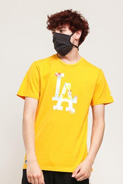 NEW ERA Erkek Sarı Los Angeles Dodgers Baskılı  Tshirt