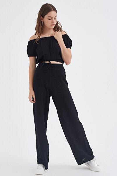 Nisan Triko Kadın Siyah Ajurlu Triko Pantolon