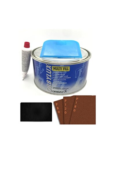 Orbay Polyester Çelik Macun 500 Gram Set+3 Adet Zımpara Ve 1 Adet Macun Çeliği.
