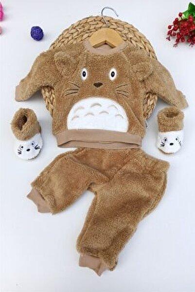 Unisex Bebek Kahverengi Ayı Desenli Kışlık Welsoft Panduflu Lüx Takım 6-9-12 Ay