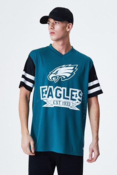 NEW ERA Erkek Turkuaz Philadelphia Eagles Fileli Oversize T-Shirt