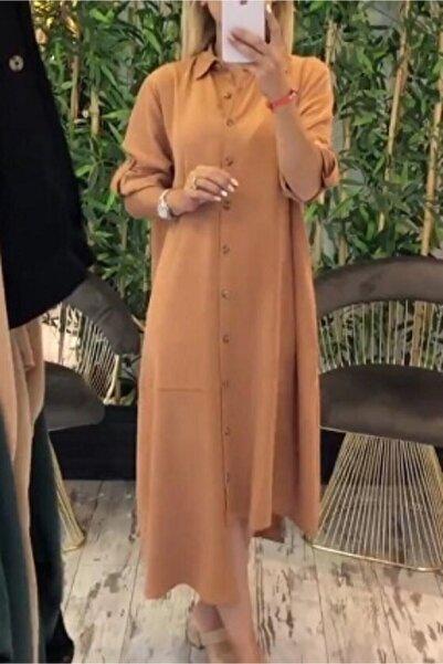 DOPENNA Kadın Bej Asimetrik Kesim Tencel Kumaş Elbise