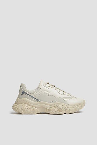 Pull & Bear Kadın Beyaz Stwd Kalın Tabanlı Spor Ayakkabı 11305640