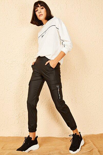 Bianco Lucci Kadın Siyah Beli Lastikli Kargo Cepli Deri Pantolon