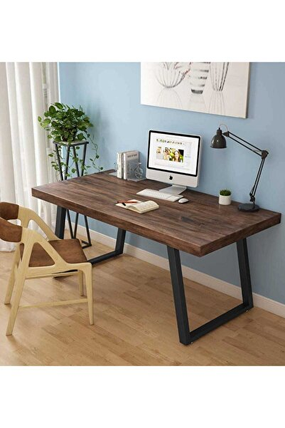 İZORM Ahşap Masif Ağaç Doğal Çalışma Masası Demir Iskelet Ofis Masası