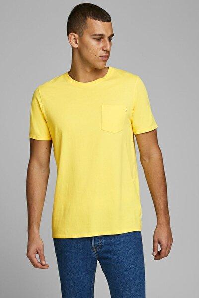 Jack & Jones Erkek Sarı Bisiklet Yaka T-shirt