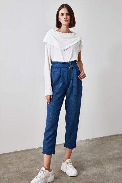 TRENDYOLMİLLA Lacivert Bağlama Detaylı Pantolon TWOAW21PL0316