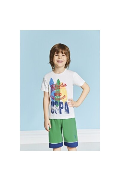 U.S. Polo Assn. Erkek Çocuk Ekru Yeşil Bermuda Pijama Takımı