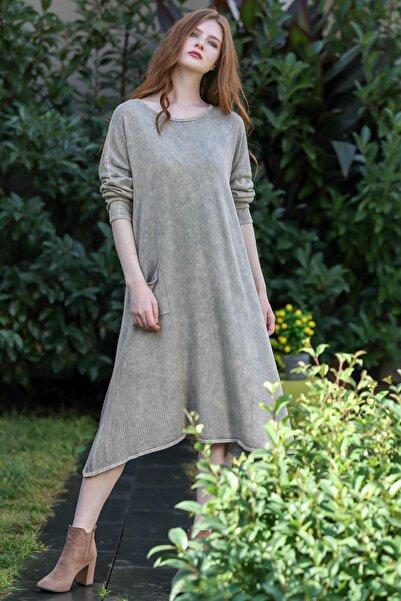 Chiccy Kadın Taş Bohem Triko Cep Detaylı Yıkamalı Etek Ucu Kafes Örgü Salaş Elbise M10160000EL96231