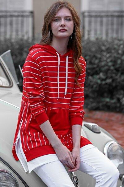 Chiccy Kadın Kırmızı Vintage Çizgili Etek Ucu 2 Parça Yırtmaçlı Kanguru Cepli Sweat M10010700SW99336