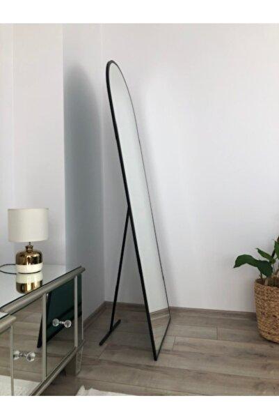 """EFFE YAPI DEKOR Siyah Metal Çerçeveli Ayaklı Oval Boy Aynası"""""""