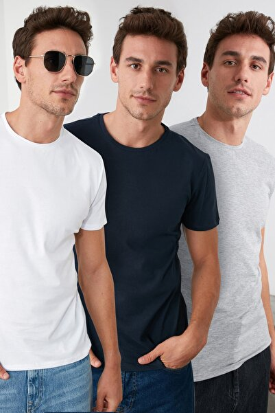 TRENDYOL MAN Çok Renkli Erkek Basic Slim Fit T-Shirt - 3'lü Paket TMNSS19BO0008