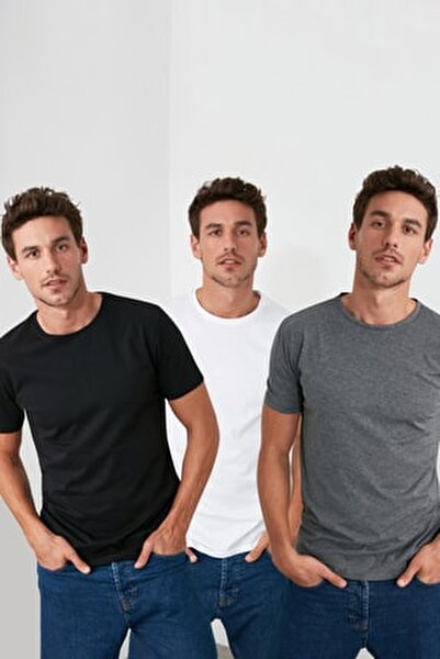 Çok Renkli Erkek Basic Slim Fit T-Shirt - 3'lü Çok Renkli Paket TMNSS19BO0007
