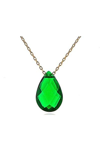 MOOM MÜCEVHERAT Kadın Yeşil Taşlı Damla Kolye 14 Ayar Altın