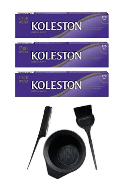 Koleston Tüp Saç Boyası 9.0 3 Adet + Saç Boyama Seti