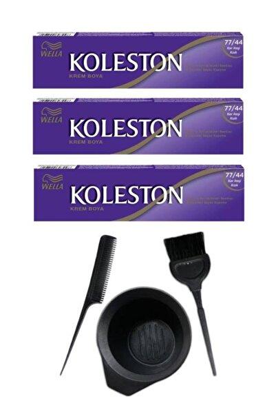 Koleston Tüp Saç Boyası 77.44 3 Adet + Saç Boyama Seti