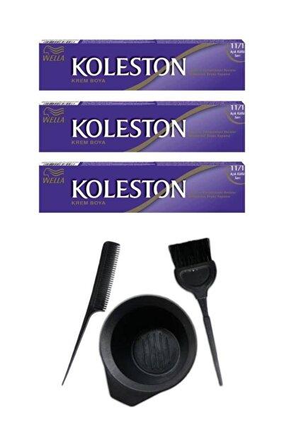 Koleston Tüp Saç Boyası 11.1 3 Adet + Saç Boyama Seti