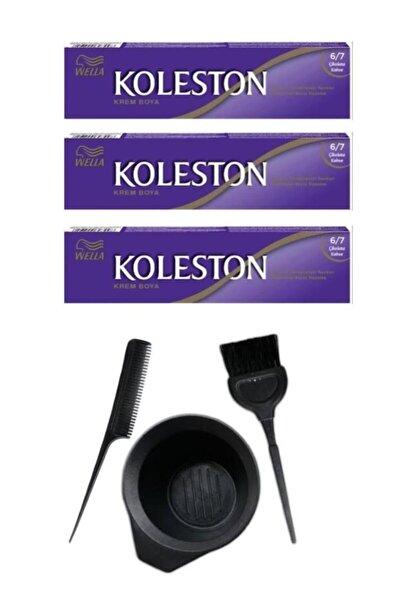 Koleston Tüp Saç Boyası 6.7 3 Adet + Saç Boyama Seti