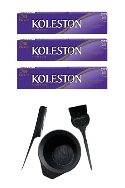 Koleston Tüp Saç Boyası 7.77 3 Adet + Saç Boyama Seti