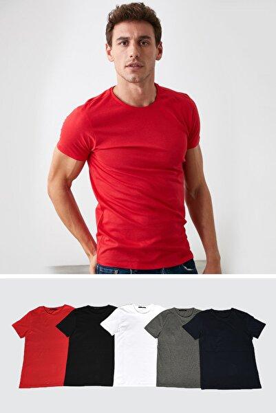 Çok Renkli 5'li Erkek Basic Bisiklet Yaka Kısa Kollu Süprem Slim Fit T-Shirt TMNAW20TS0243