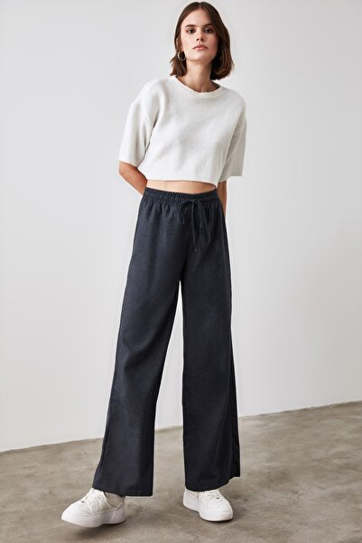 TRENDYOLMİLLA Lacivert Bağlamalı Pantolon TWOAW21PL0553