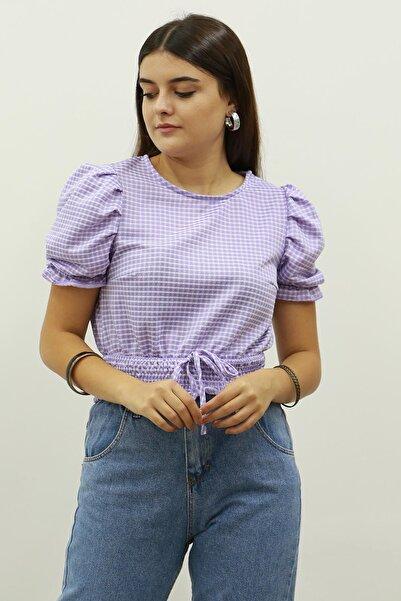 Madmext Mad Girls Mor Ekoseli İp Detaylı Bluz MG681