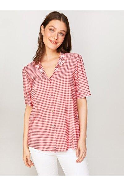 Faik Sönmez Kadın Kırmızı Nakışlı Ekose Gömlek 60379