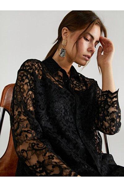 Faik Sönmez Kadın Siyah Dantel Gömlek 61339