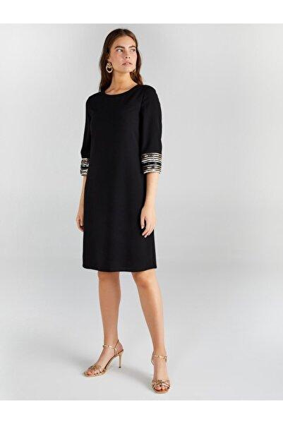 Faik Sönmez Kadın Siyah Payet Detaylı Abiye Elbise 61108