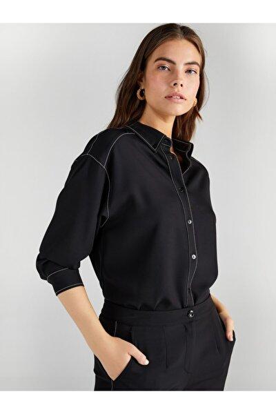 Faik Sönmez Kadın Siyah Kontrast Dikişli Gömlek 61306