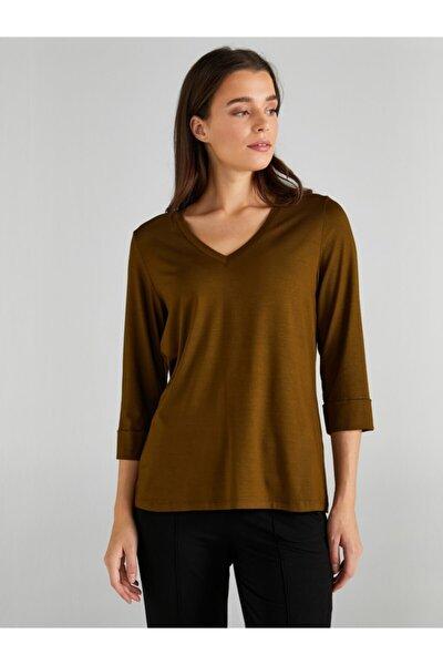 Faik Sönmez Kadın Zeytin Yeşili V Yaka T-shirt