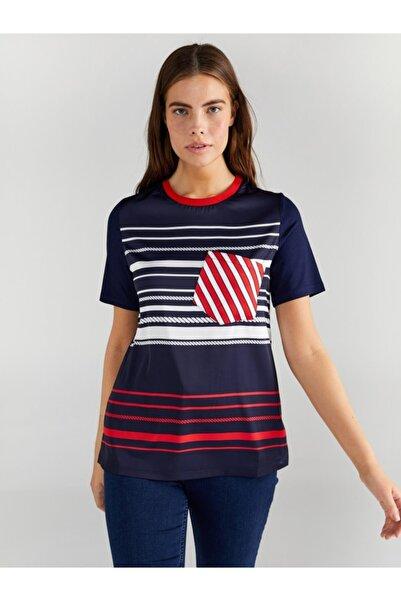 Faik Sönmez Kadın Lacivert Önü Saten Çizgi Baskılı T-shirt
