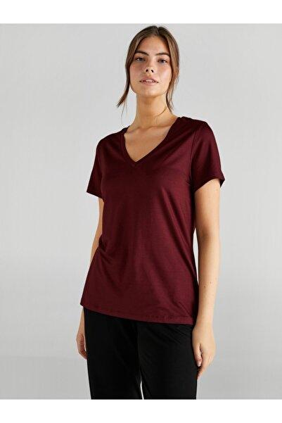 Faik Sönmez Kadın Bordo V Yaka Kısa Kol T-shirt