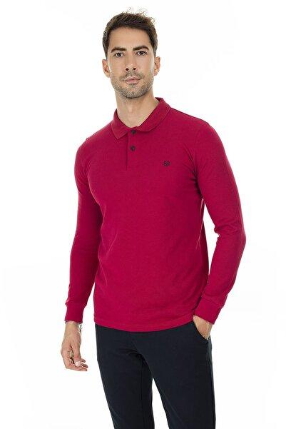 Buratti Sport Buratti Erkek KIRMIZI Düğmeli Polo Yaka Uzun Kollu Pamuklu Sweatshirt 4369065