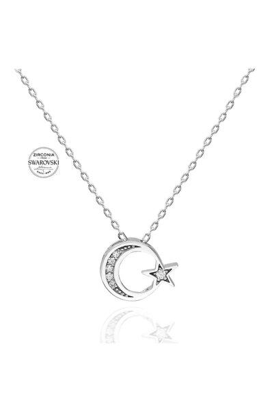 Swarovski 925 Ayar Gümüş Ayyıldız Kolye Sertifikalı