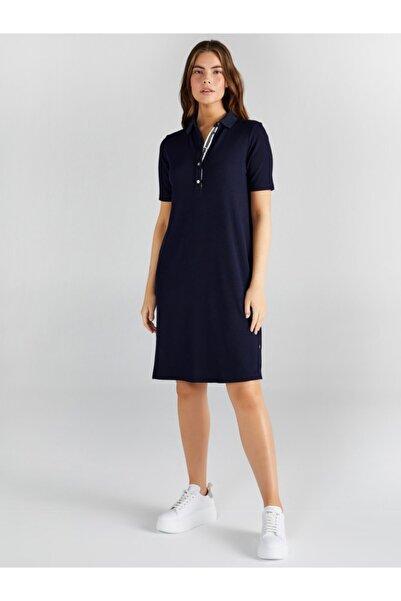 Faik Sönmez Kadın Lacivert Polo Yakalı Şerit Detaylı Elbise 61257