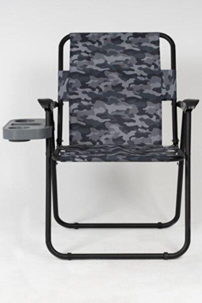 Noble Wolf' s Outdoor & Kamp Gri Kamuflaj Katlanır Bardak Koymalı Kamp Piknik Balıkçı Sandalyesi
