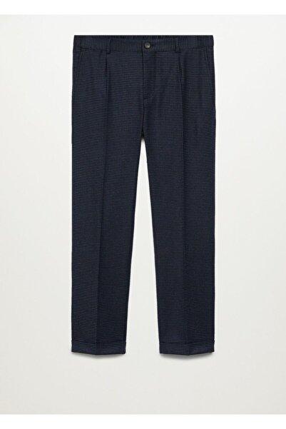 MANGO Man Erkek Lacivert Mini Kazayağı Desenli Yün Karışımlı Pantolon