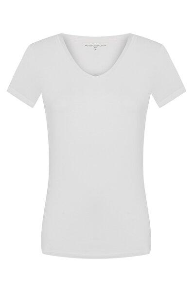 Mudo Kadın Beyaz V Yaka Pamuk Basıc T-Shırt 1220607