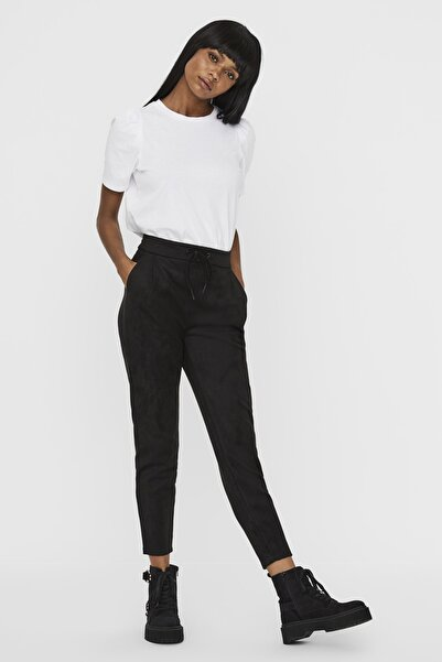 Vero Moda Kadın Siyah Süet Ipli Pantolon 10225615 Vmeva