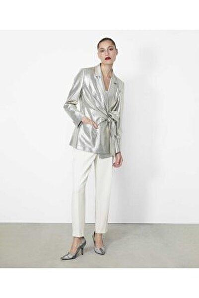 Kadın Gümüş Anvelop Kapama Detaylı Ceket