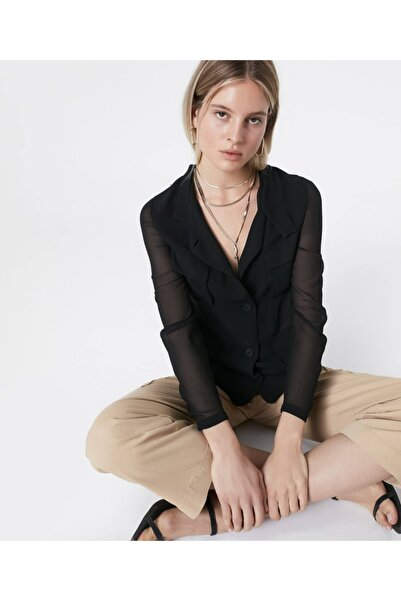 İpekyol Kadın Siyah Şifon Mixli Ceket